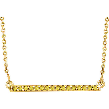 14K Gold Yellow Diamond Bar Necklace And/Or Studs