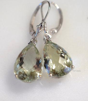14K White Gold Pear Shape 12.73 Carat Green Amethyst Earrings