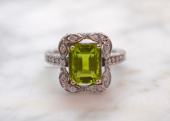 Emerald Cut Peridot And Diamond Ring