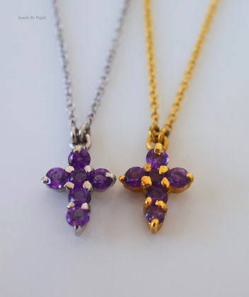 Any Color 14K Gold Amethyst Cross Necklace