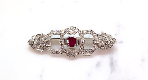Art Deco Platinum Ruby And Diamond Brooch