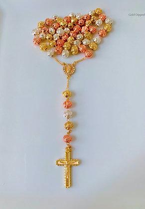 Tricolor Rose Gold Plated Rose Rosary Bracelet