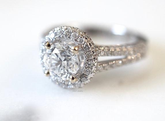 EGL Certified 2.16 Carat Round Brilliant Split Shank Halo Engagement Ring