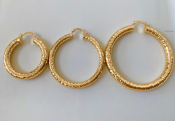 Gold Dipped Diamond Cut Tube Hoops Available In 3 Sizes