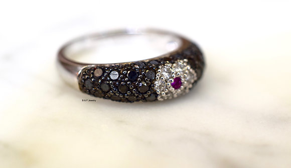 14K White Gold Black Diamond, White Diamond, And Pink Sapphire Band