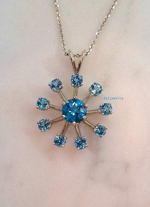 14K White Gold Sky Blue Topaz Snowflake Necklace