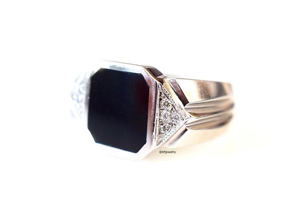 Men's Diamond And Onyx Ring
