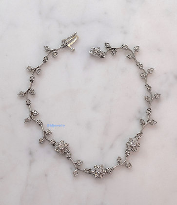 14K White Gold Diamond Floral Bracelet- A Part Of Set