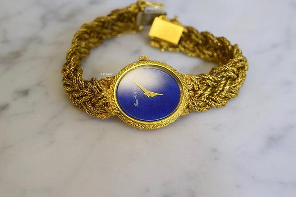 "Vintage 18K Yellow Gold ""Bueche"" Integral Woven Bracelet Wristwatch"