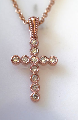 14K Rose Gold Bezel Set Diamond Cross Necklace