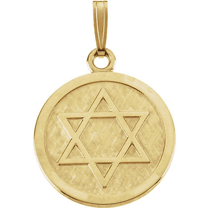 14K Gold Star Of David Medal Necklace