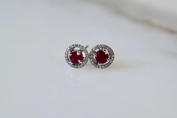 14K White Gold Halo Ruby And Diamond Stud Earrings