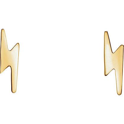 Any Color 14K Gold Lightning Bolt Stud Earrings