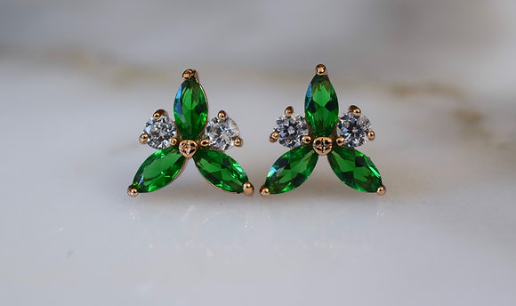 Gold Plated Marquise Shape Emerald Inspired Stud Earrings
