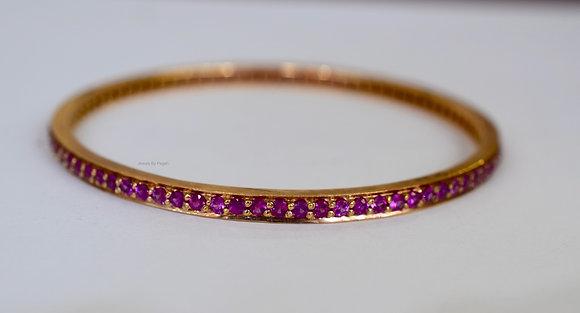14K Rose Gold Pink Sapphire Bangle