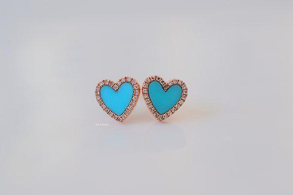 14K Rose Gold Diamond And Turquoise Heart Earrings