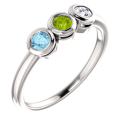 Custom Any Color 14K Gold 1 to 5 Birthstone Ring