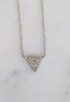 14K White Gold Diamond Triangle Necklace- Has Matching Earrings