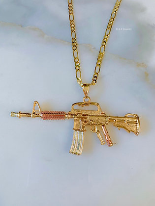 Reversible Tricolor And Yellow Gold Plated Machine Gun Necklace
