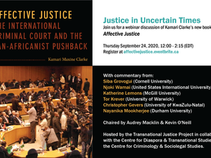 Justice in Uncertain Times - Webinar Discussion of Kamari Clarke's new book.
