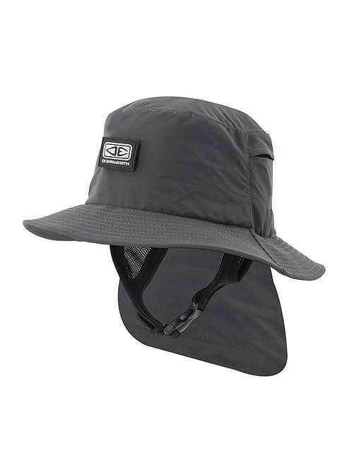 Mens Indo Stiff Peak Surf Hat - Black