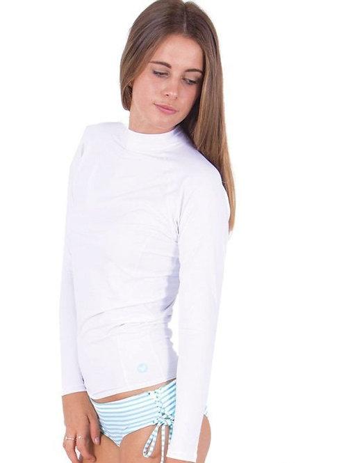 Ladies Blazer Long Sleeve Shirt - White.