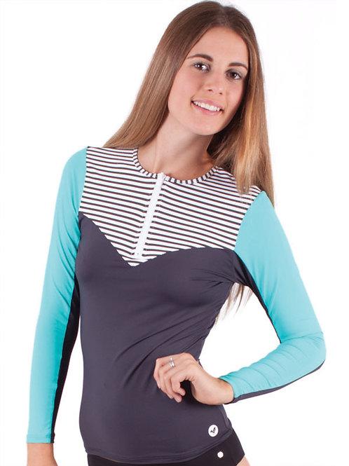 Girls Riot Long Sleeve Zip Charcoal
