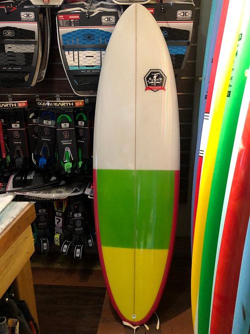 JR板 5'10呎-PU 白綠黃粉紅邊