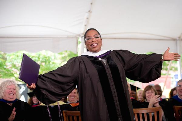 Oprah Winfrey receives a honorary degree during the Agnes Scott College 2017 Commencement at Agnes Scott College.