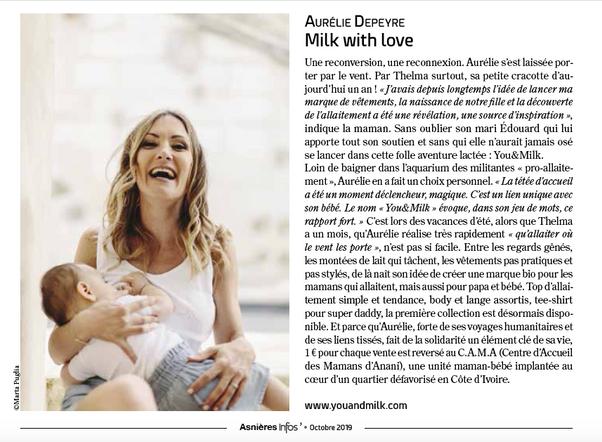 Magazine Asniere Infos - octobre 2019 - Interview de You&Milk