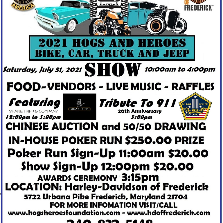 2021 Hogs and Heroes Bike, Car, Truck, and Jeep Show