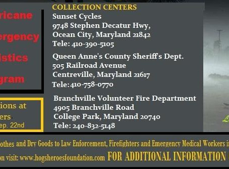 Hogs and Heroes Foundation has setup three H.E.L.P. (Hurricane Emergency Logistics Program) Centers.