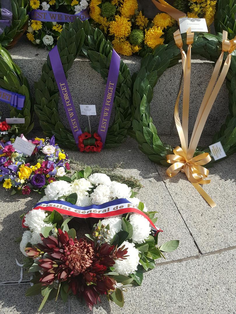 Gerbe de fleur au War memorial d'Adelaid