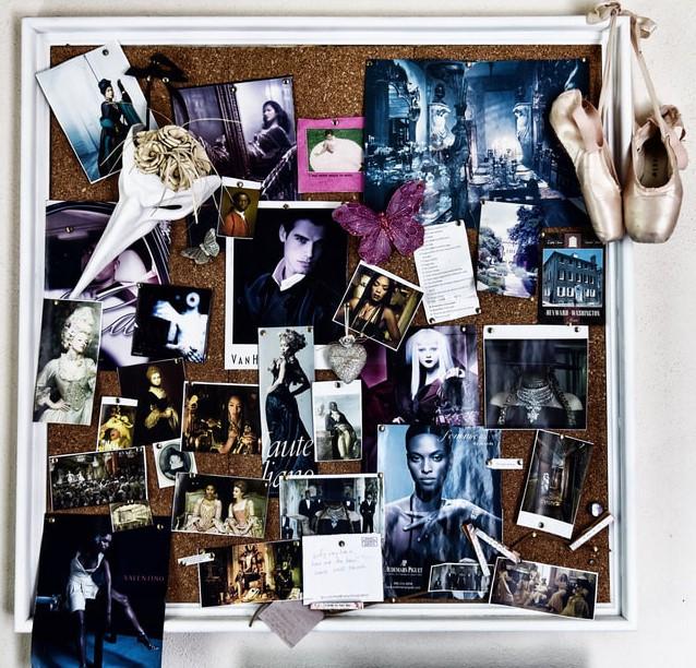 photos on a bulletin board