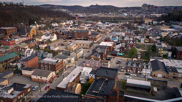 Aerial photograph of Millvale, Pittsburgh PA