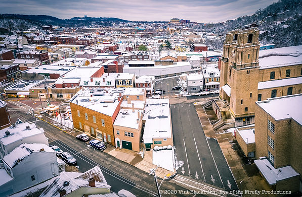 Aerial photograph via drone of the Pi Factory and Holy Spirit Church