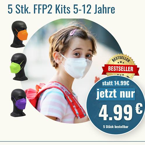5 Stück FFP2  Kits bunt von 5-12 J