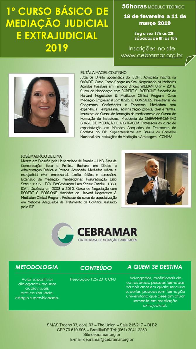 1º Curso Básico de Mediação Judicial e Extrajudicial 2019