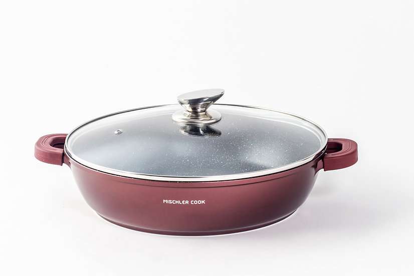 Low casserole, 32cm, burgundy