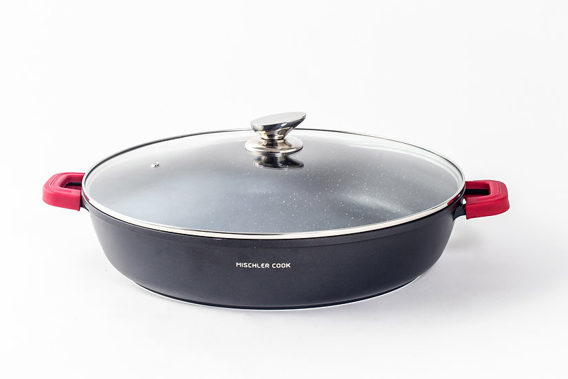 Low casserole, 40cm, black