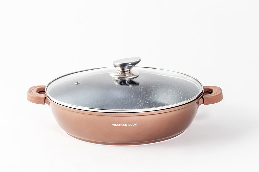 Low casserole, 32cm, copper