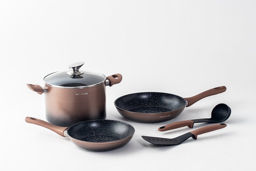 Forged aluminium set, 6 pieces - copper