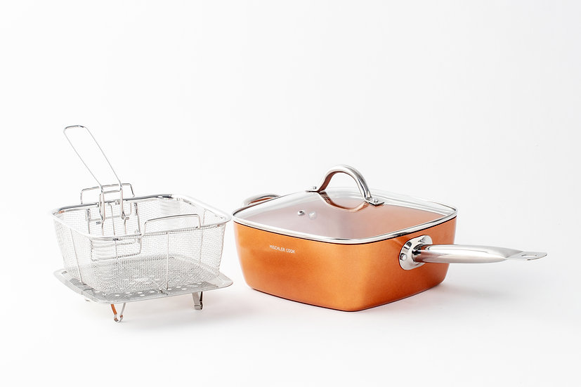 Deep fry pan, Forged aluminium - Copper