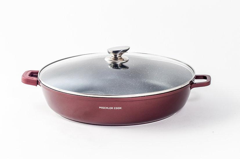 Low casserole, 40cm, burgundy