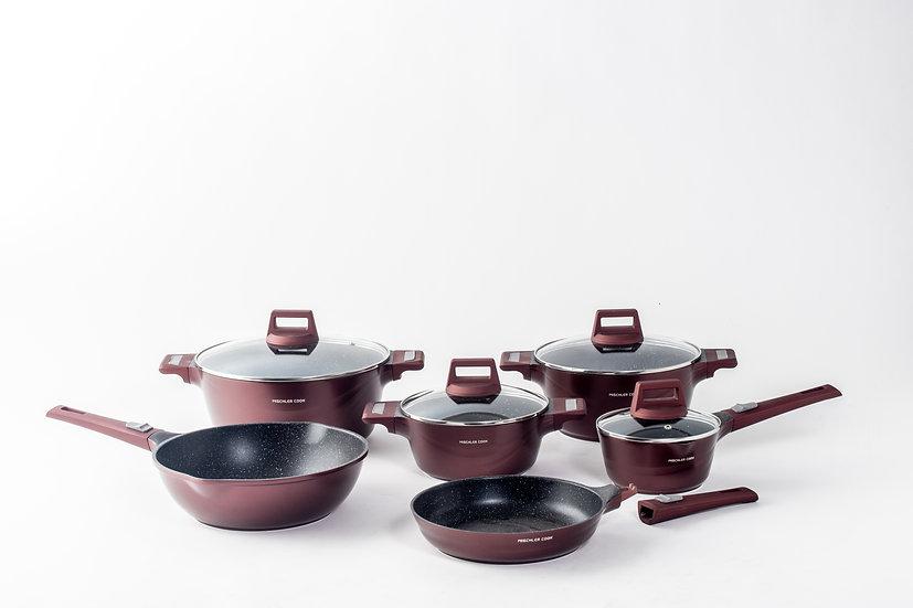 Die cast aluminium set, 10 pieces -burgundy