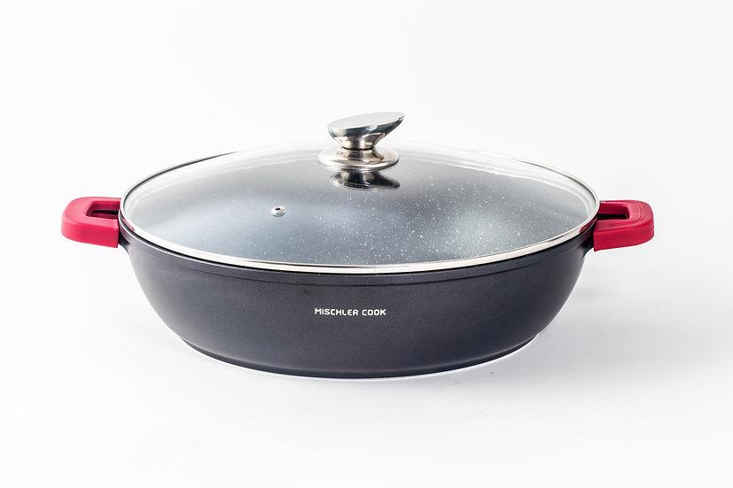 Low casserole, 36cm, black