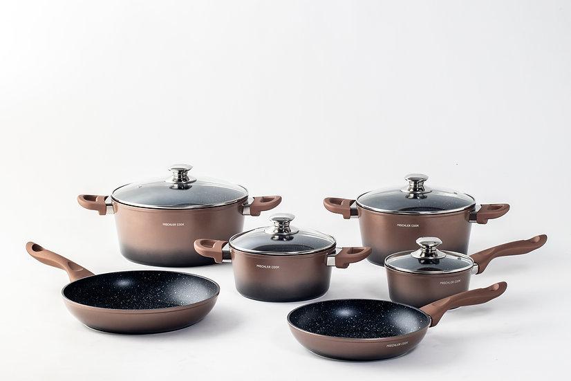 Forged aluminium set, 10 pieces - copper