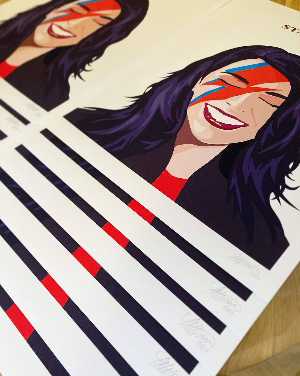 Signed and numbered editions of the Jacinda Stardust art print from artist Todd Atticus.