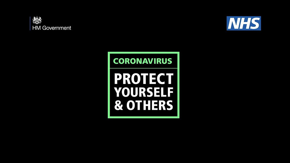 Bright neon green public health messaging for the UK's coronavirus pandemic public health campaign