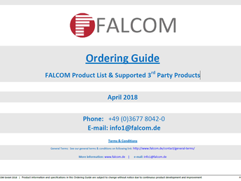 Новый FALCOM Product List & Supported 3rd Party Products